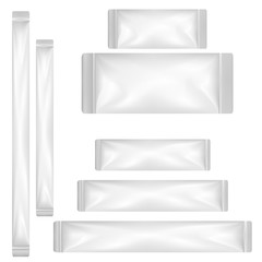 VECTOR PACKAGING: White gray plastic sachet or foil packet on isolated white background. Mockup template ready for design