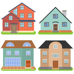 Set of four private houses on a white background. Vector illustration.