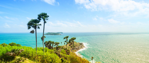 Phromthep Cape, beautiful Andaman sea view in Phuket island, Thailand. Blue sky and turquoise color sea. Banner