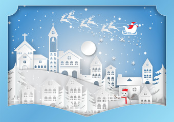 Winter season with snowflake, Vector illustration of Merry Christmas, paper art design in the Gift Box