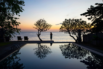 Sunrise by the pool at Bali - Indonesia.