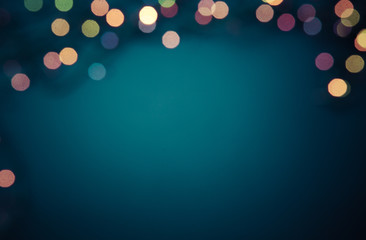 christmas lights on dark background