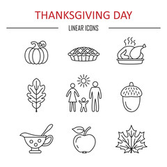 Thanksgiving day icons.
