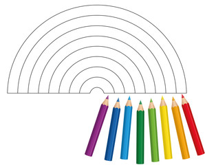 Coloring picture with eight short baby crayons that show which colors to be used for a bright and shiny rainbow - isolated vector illustration on white background.