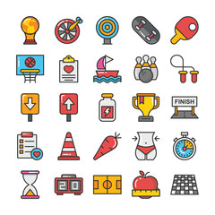 Sports and Games Flat Vector Icons Set 4