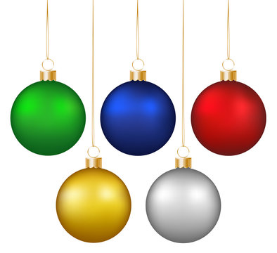 Set of realistic shiny colorful hanging christmas baubles isolated on white background
