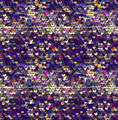Sequins  Seamless Pattern. Vector. Without gradient. Purple Background.
