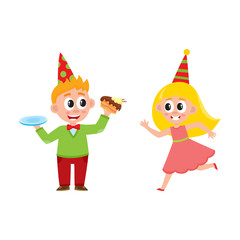 vector flat cartoon boy kid in party hat eating sweet piece of cake, girl running smiling . isolated illustration on a white background. Kids patty concept