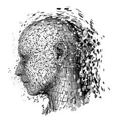 Shattered head stress depression concept vector illustration.