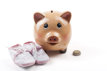 Baby Shoes and Piggy Bank