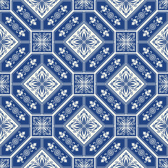 Vintage tiles intricate details for a decorative look. Seamless retro vector. Ceramic paint floor, ornament Collection Patchwork Pattern Colorful Painted tin Illustration background Pattern.