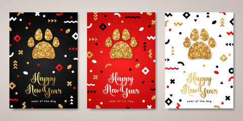 2018 New Year greeting cards set