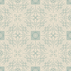 Oriental traditional ornament,  Arabic, islamic, japanese motifs. Mediterranean seamless pattern, tile design, vector illustration. Italian majolica tiles, floral ornament