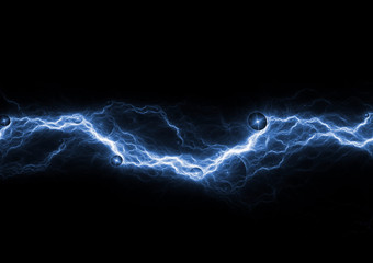 Blue lightning on black background