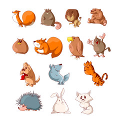 Collection of colorful vector cartoon cute animals illustrations