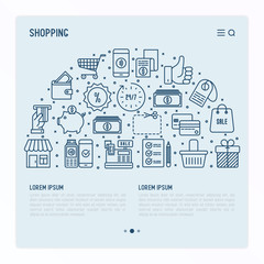 Shopping concept in half circle with thin line icons: cashbox, payment, pos terminal, piggy bank, sale, currency, credit card, trolley. Template for web page of online shop. Vector illustration.