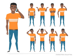 Set of emotions and gestures to the young black african american man.