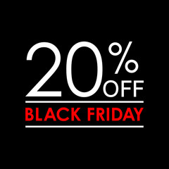 20% off. Black Friday sale and discount banner. Sales tag design template. Vector illustration.
