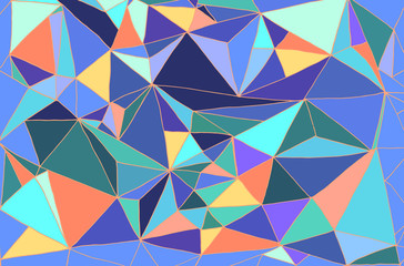 Bright abstract hand drawing background, many multicolored trian