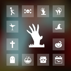 Zombie hand icon halloween set simple vector sign