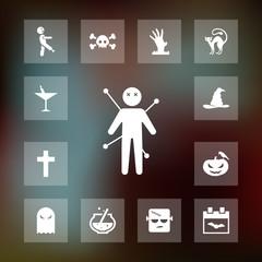 Voodoo icon halloween set simple vector sign