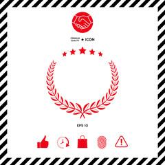Laurel wreath with five stars - design symbol