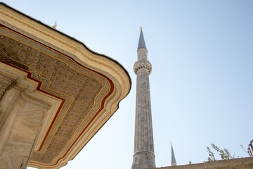 Minaret of Ottoman Mosques in view