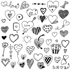 collection set of hand drawn cute heart doodle Valentine's elements, shape of love heart design vector illustration