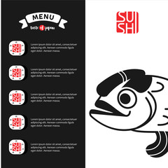 The logo and menu template sushi for Japanese restaurant 2.