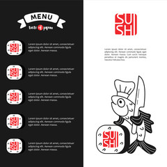 The logo and menu template sushi for Japanese restaurant 3.