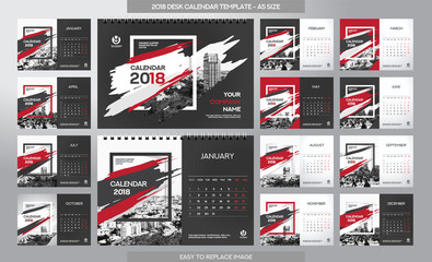 Desk Calendar 2018 template - 12 months- Art Brush Theme
