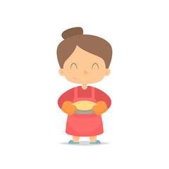 Cartoon woman holding pie vector
