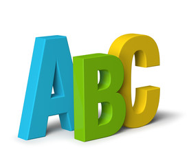 Colour letters ABC isolated on white 3D