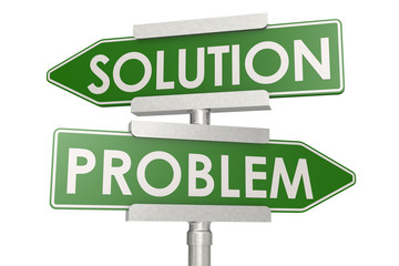 Problem and solution green road sign