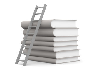 Pile of white books with a stair