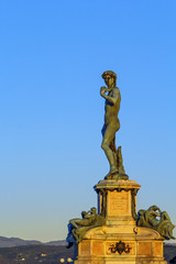 David replica statue on Michelangelo hill, Florence, Italy
