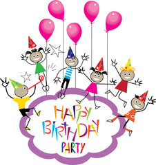 happy birthday, hand drawn of stick figure kids whith balloons, design vector image for invitation on party