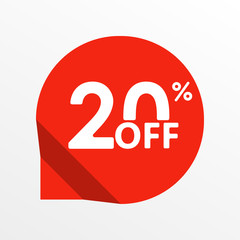 Sale tag icon. 20 percent off. Price off and discount tag design element. Vector illustration.