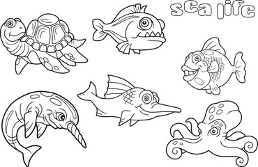 set of cartoon funny images sea life