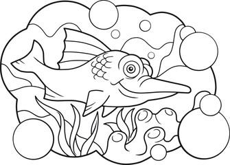 cartoon funny swordfish coloring book