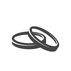 Wedding rings icon. Vector logo on white background