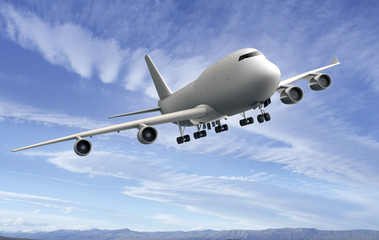 flying plane isolated on blue sky background
