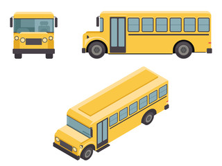 Isometric 3d Retro Flat Design School Buss Car Icons Set Vector illustration