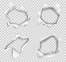 Set of vector realistic holes torn in white paper isolated on transparent background