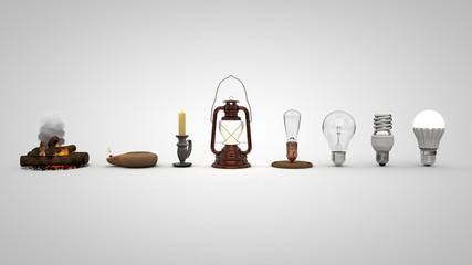 3D illustration of Evolution of lighting