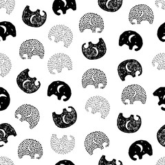 Seamless pattern with hand drawn silhouette elephants.