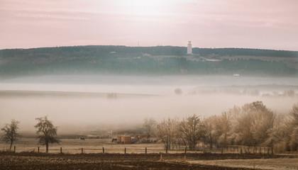 Nebellandschaft und Glockenturm Buchenwald