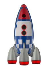 Red blue and white toy plastic childs rocket isolated on white