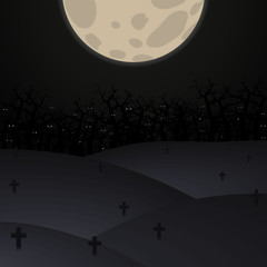 Halloween poster background. Foggy landscape of graveyard with scary bats eyes in dark forest and big moon. Vector illustration.