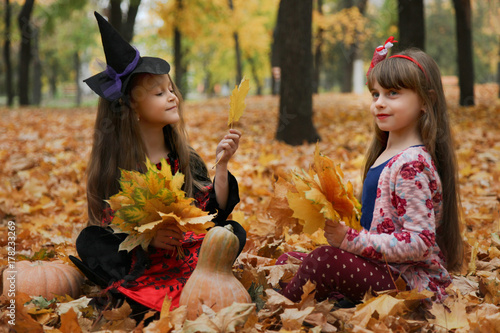 Two Girls In Halloween Costumes Stock Photo And Royalty Free Images
